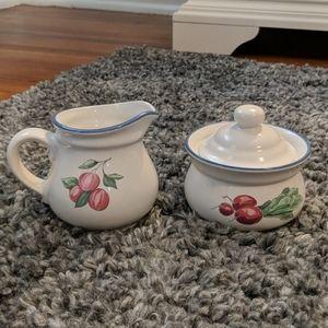 Sugar bowl and creamer pitcher